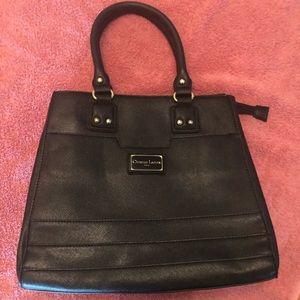 Black CHRISTAIN LACROIX 3 entry zip handbag tote